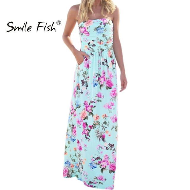 Estampado bohemio Floral vestido Sexy sin tirantes verano Mujer playa Maxi vestidos largos bata Mujer vestido de fiesta Mujer vestido GV725