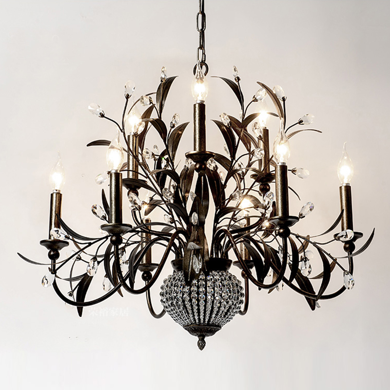 creative artistic wrought iron chandelier beautiful creative iron leaf suspension lamp indoor drop lights home lighting - Wrought Iron Chandelier