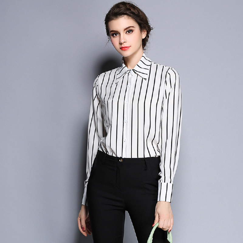 Online Get Cheap Black and White Striped Button Down Shirt ...