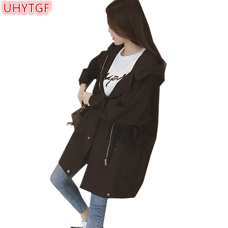 UHYTGF 2018 Spring and summer   Trench   Coat Women's clothing Splice Long sleeve Loose Plus size Windbreaker Hooded coat zipper 21