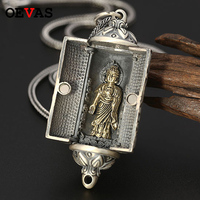 S925 sterling silver retro vine creative pendant Can be opened Thai silver classic Buddha phase men's necklace pendants jewelry