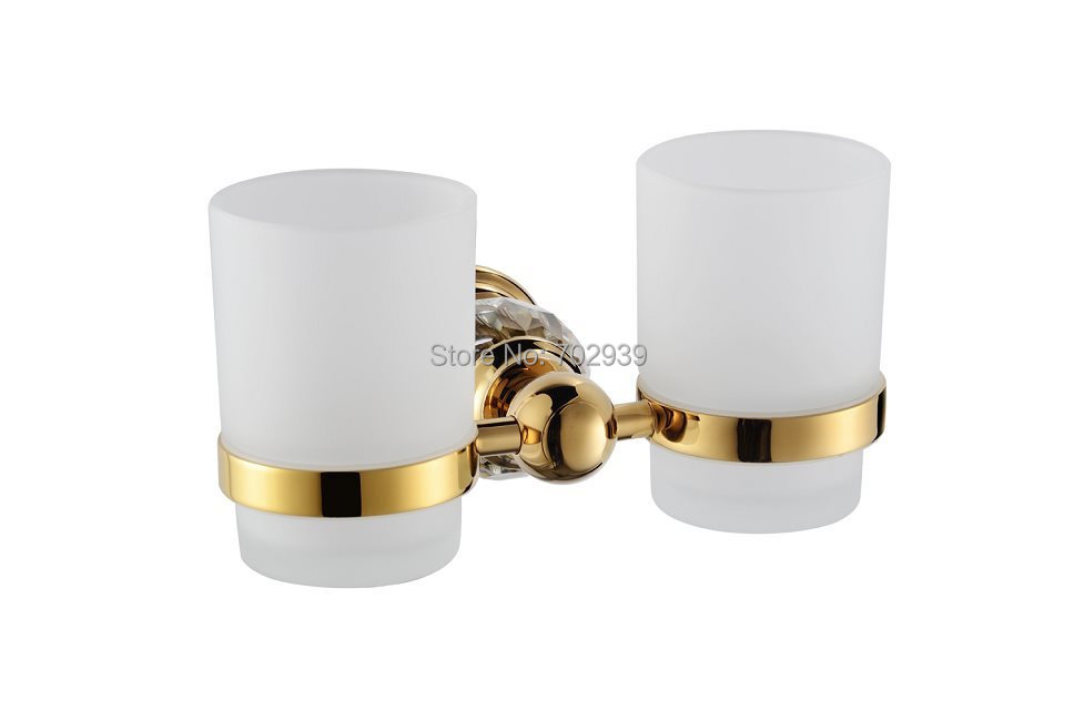 FREE SHIPPING new design 24k double Crystal TUMBLER HOLDER TEECH CUP free shipping new design 24k gold crystal single cup and tumbler holder