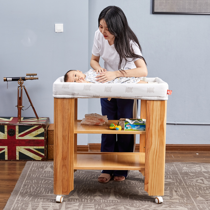 Housbay 4 IN 1 OPGROEIEN BABY BED Houten Baby Baby Multifunctionele Luier Veranderende Tafel, Luier Station, verpleging Organizer