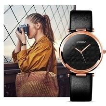 New SINOBI Fashion Minimalist Women's Rose Wrist Watches Leather Watch Luxury Brand Simple Ladies Geneva Quartz Clock relogio