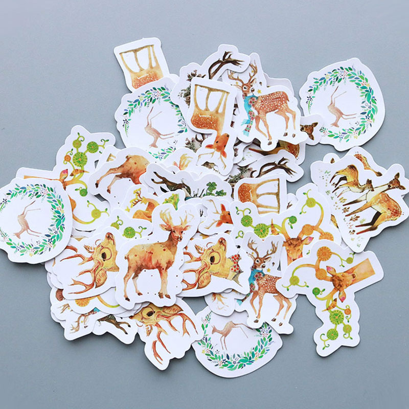 40 pcs/bag Cute little deer paper sticker decoration diy scrapbooking Gift bag sticker children's favorite stationery 50 pcs bag santa claus christmas stickers paper sticker decoration diy scrapbooking sticker children s favorite stationery