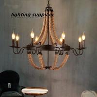 LOFT ретро люстры, металл + шнур E14 свечки промышленных led люстра лампа отель дома висит лампа AC 110 В 220 В