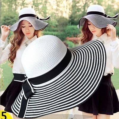 Moda de verano de rayas mujeres playa sombrero de paja borde grande Floppy Sunbonnet Caps envío gratis SDDS-004