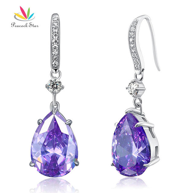 Peacock Star 4 Carat Purple Pear Cut Simulated Sapphire Solid 925 Sterling Silver Dangle Earrings Jewelry CFE8111