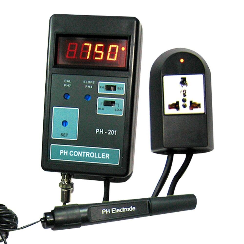 Numérique LED Affichage pH CO2 Contrôleur Compteur Aquarium 14.00PH Gamme + Switched Socket 110 v/220 v + D'étalonnage solutions