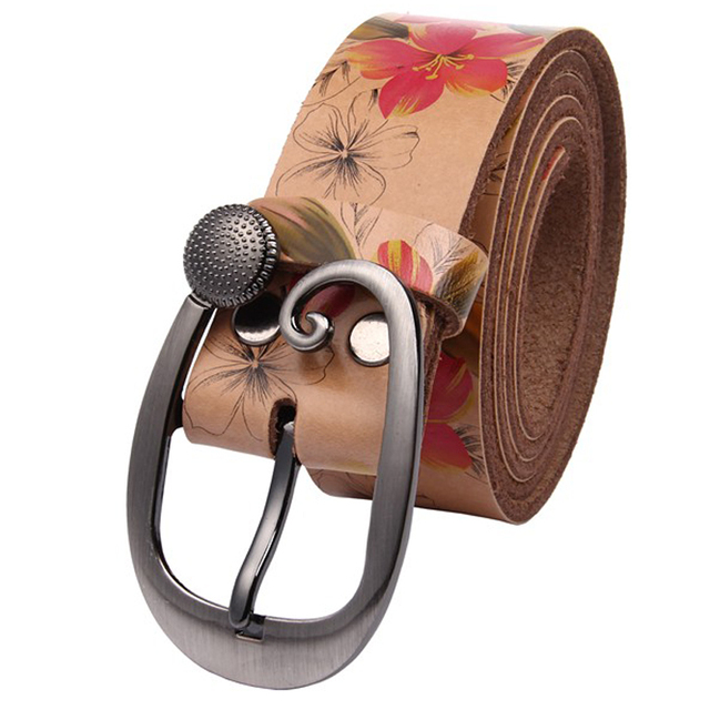 Hot Fashion Genuine leather woman belt Pretty Floral strap for women jeans New wide female belts High quality Cow skin girdle