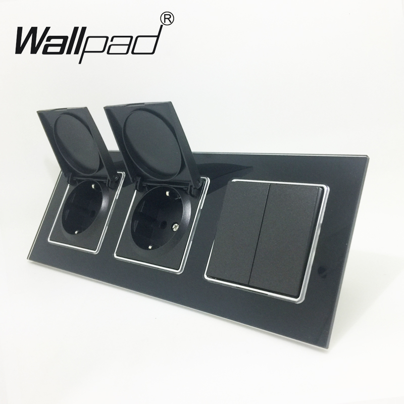 2 Cap EU Socket+ Switch Wallpad Luxury Black Crystal Glass 2 Gang 2 Way and Double 16A EU Wall Socket with Dust Cap Claws Mount цена