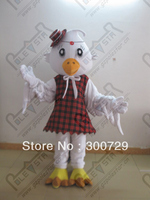 White Chick Mascot Costumes Vintage London Dress Chicken Costmes Cartoon Chick Costumes