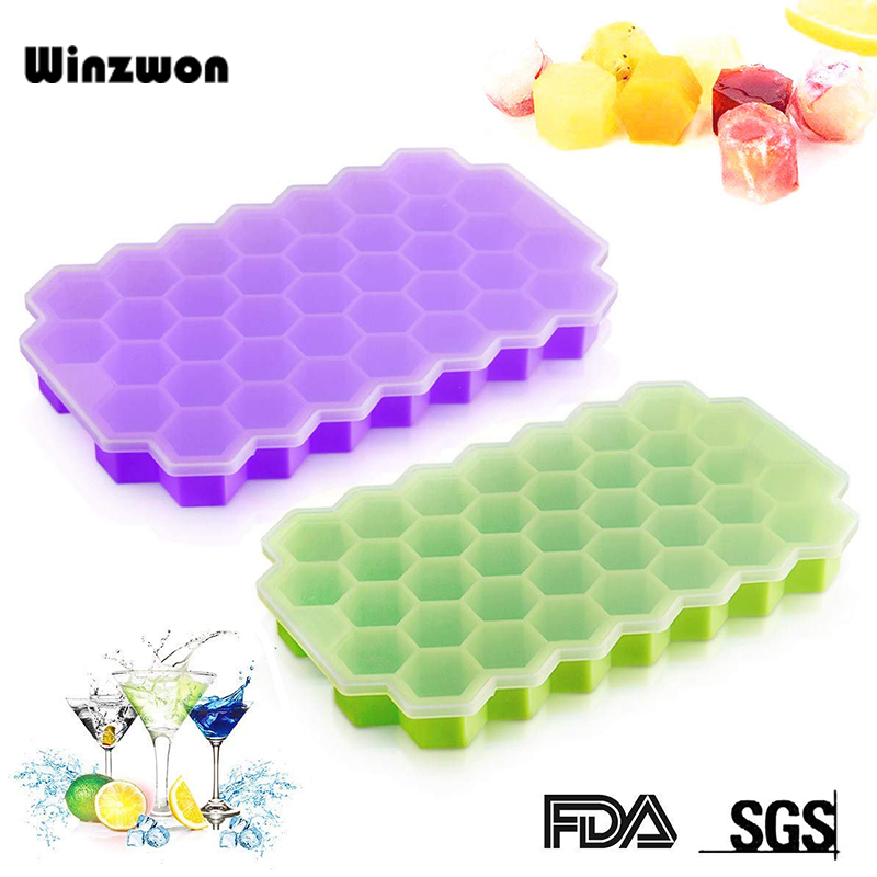 BPA Free Honeycomb Ice Cube Tray 37 Cubes Silicone Ice Cube Maker Mold With Lids For Ice Cream Party Whiskey Cocktail Cold Drink-in Ice Cream Makers from Home & Garden