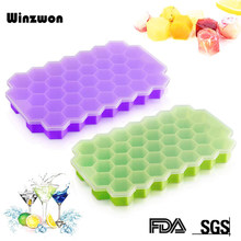 BPA FREI Honeycomb Ice Cube Tray 37 Cubes Silikon Ice Cube Maker Form Mit Deckel Für Eis Partei Whisky cocktail Kaltes Getränk(China)