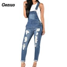 Genuo 2018 Autumn Women Denim Overalls Cool Jumpsuits Ripped Holes Casual Pockets Sleeveless Hollow Out Rompers 2XL