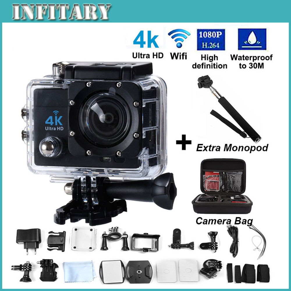 2016 Ultra HD 4K WIFI Helmet Cam 30M Waterproof Sport Camera16MP2.0 LCD 170 lens Diving action camera Add Monopid + Bag