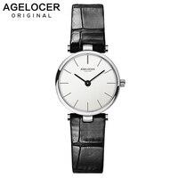 Швейцарский Ultra Slim повседневные часы для женщин бизнес AGELOCER брендовые кожаные аналоговые Мода 2019 relojes hombre