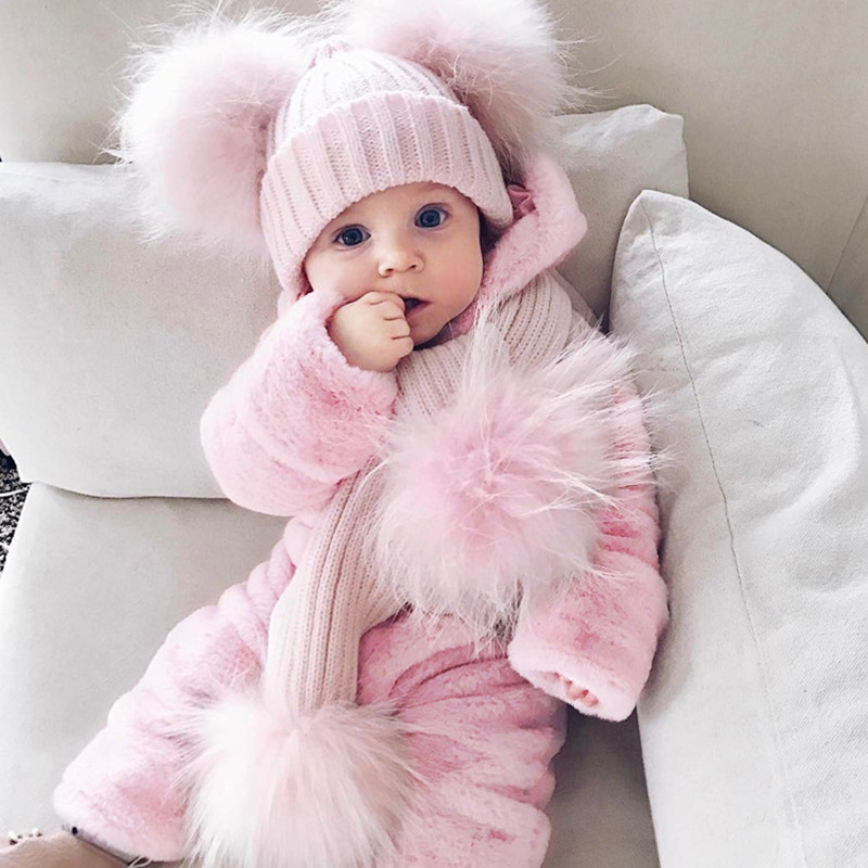 Winter Baby bunny costume infant toddler pink rabbit autumn winter warm romper children Halloween Christmas Easter clothing F16