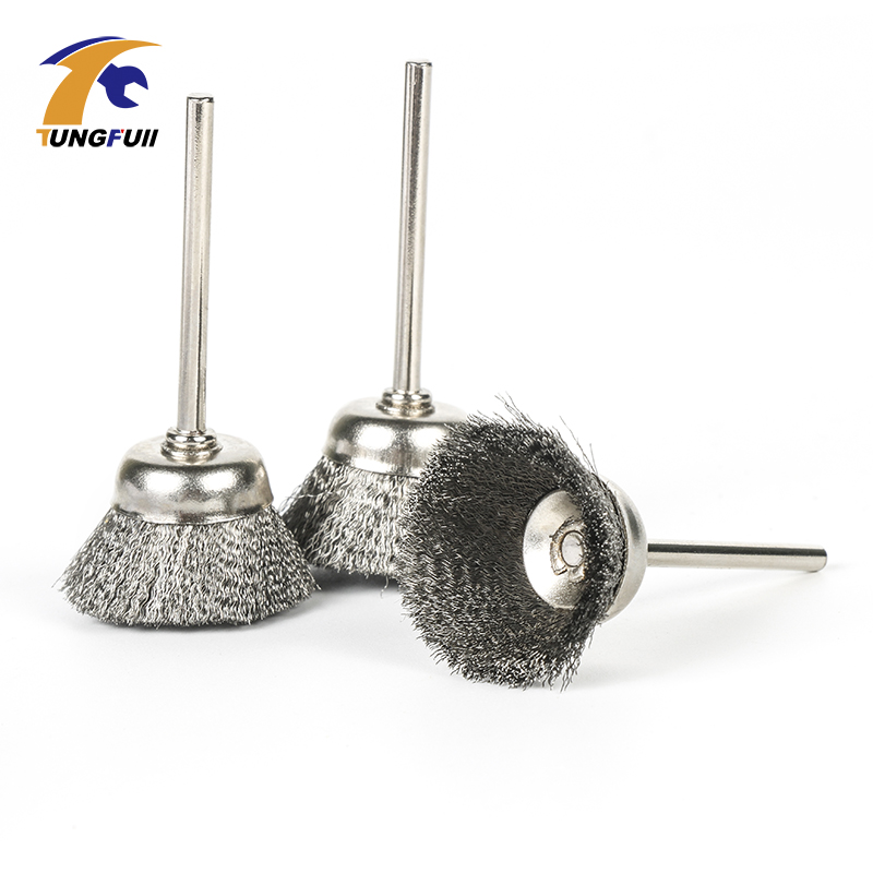 Tungfull Metalworking 3PCS Steel Wire Wheel Brushes Cup-Shaped With Shank For Dremel Accessories For Rotary Tools 25mm Diameter