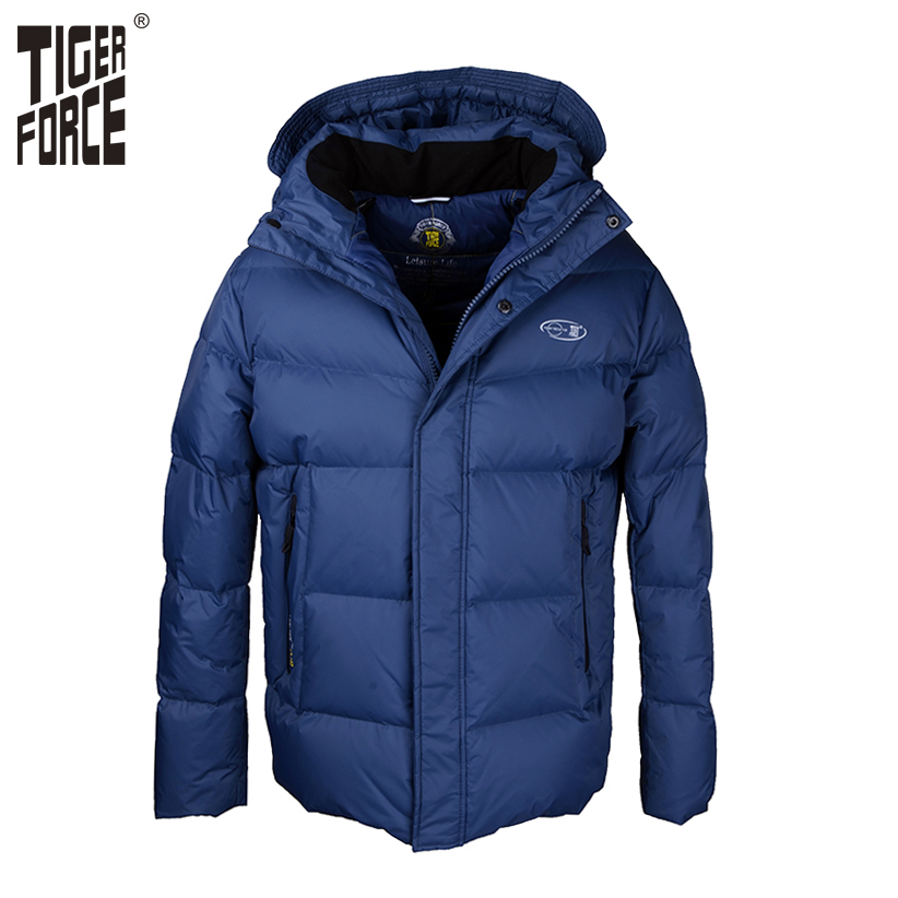 TIGER FORCE 2017 High Quality Men Fashion White Duck Down Jacket Winter Casual Down Coat Parka