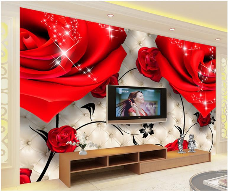 Europea 3d Murals 3d Wallpaper, Photo Red Rose For Tv Sofa