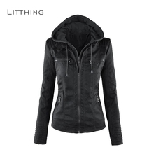 LITTHING Women Faux Leather Jacket Hoodie Winter Spring Motorcycle Black
