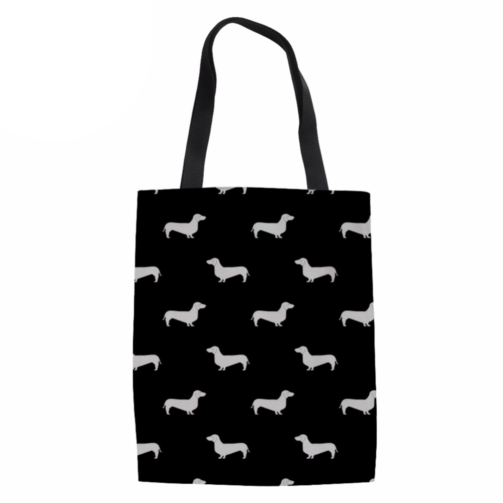 Doxie Dachshund Design Channels Handbags Women Large Folding Shopping Bags for Females Fashion Handle Coth Bag Reusable