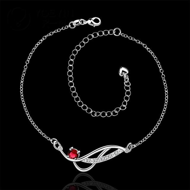 Silver Plated Anklet with Multicolor Zircon Crystals