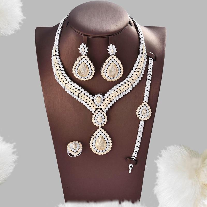 Dazz Flower Leaf Luxury Women Nigerian Wedding Naija Bride Engagement Cubic Zirconia Necklace Dubai 4PCS Dress Jewelry Sets Gift