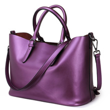 Women Handbag Genuine Leather Shoulder Bag Female Bags Cowhide Portable Shopping Bag Vintage Large Capacity Tote Bolsos Purple danny bear fashion designers women handbags vintage ladies tote handbag portable female shoulder bags large black shopping bag