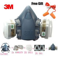 3M 7502 7 Piece Suit Half Face Dust Mask Respirator Paint Spray Filter Reusable