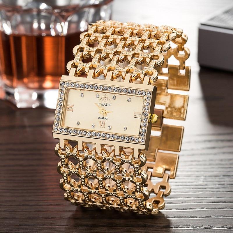 2016 Brand New Stainless Steel Chain Fashion Gold Watch Women Wristwatch  Alloy Square Watch Student  Bracelet Relogios Feminino