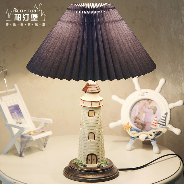 Mediterranean country lighthouse table lamp male girl children mediterranean country lighthouse table lamp male girl children template room study bedroom colored beacon lamp aloadofball Choice Image