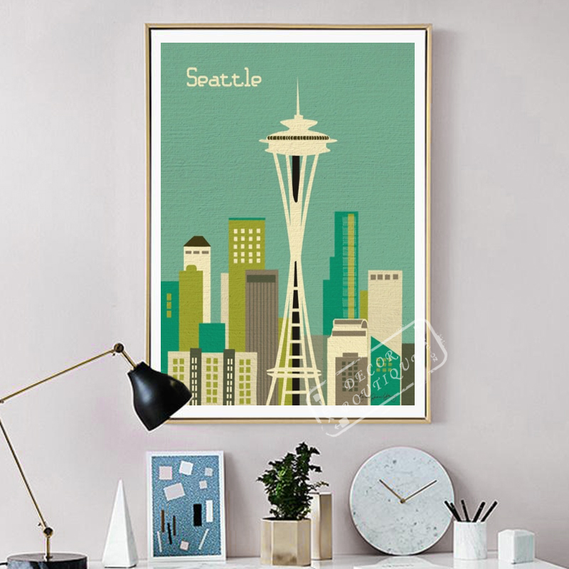 Seattle The SpaceNeedle Room Frame Vintage Kraft Decorative Poster DIY Wall Canvas Painting Sticker Delicate Home Bar Decor Gift image