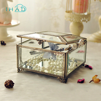 Copper Glass necklace Storage box Dust cover jewelry Organizer Cosmetic small jewellery Display Decorative dressing container