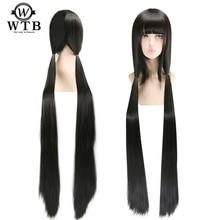 Wtb 120 cm de comprimento anime hell girl enma ai em linha reta preto peruca cosplay cabelo sintético fibra resistência ao calor