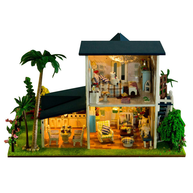 Best iie create 130-15 Leisurely Stay DIY Dollhouse With Furniture Light Cover Miniature Model Gift Decor Toys
