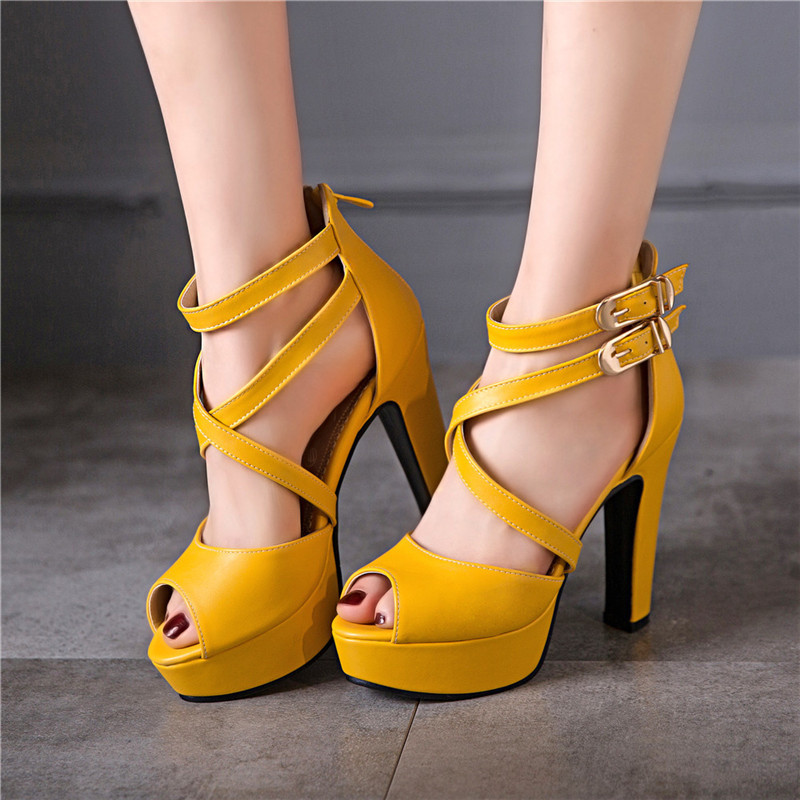 YMECHIC Yellow White Party Wedding Bridal High Heels Ankle