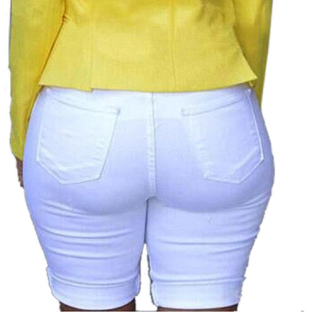 Womens Solid Denim Skinny Short Jeans Feminino Hole Leggings Destroyed Bermuda Shorts Jeans Pants With High Waist Summer