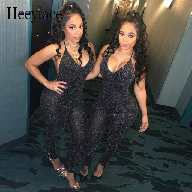 Sexy Summer backless Rompers Women Jumpsuit v Neck Sleeveless sequin Overall Fitness Bodysuit Leotard Playsuit Black Catsuit