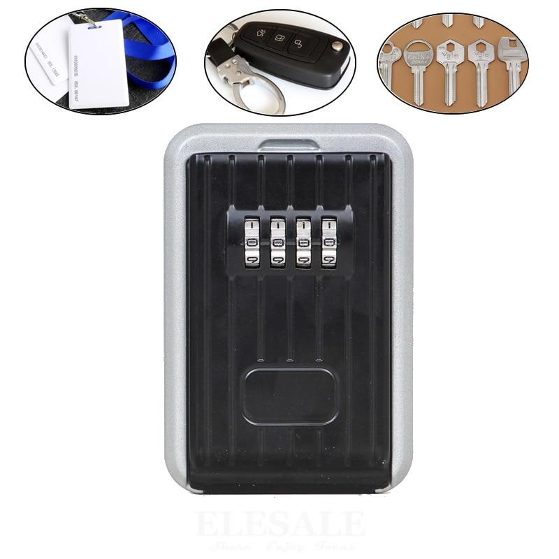 Wand Schlüssel Safe 4-Digital Passwort Lock Ersatz Schlüssel ID Karten Versteckte Lagerung Fall Organizer Metall Geheimnis box Mit Abdeckung
