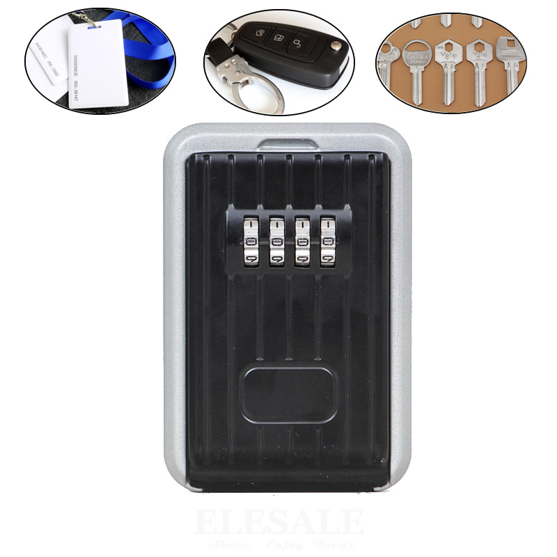 Wall Mounted Key Safe Box 4-Digital Password Lock Spare Keys ID Cards Hidden Storage Case Organizer Metal Secret Box With Cover