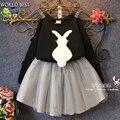 Niños de la manera Ropa 2015 Otoño Nueva Llegada Niños Ropa Tridimensional Conejo t-shirt + Skirt 2 Unidades Chicas Ropa conjunto