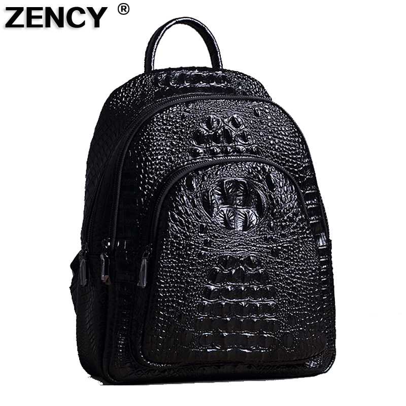 ZENCY Large Capacity Fashion Crocodile Pattern Backpack Genuine Leather Second Layer Cowhide Women Backpack School Bags