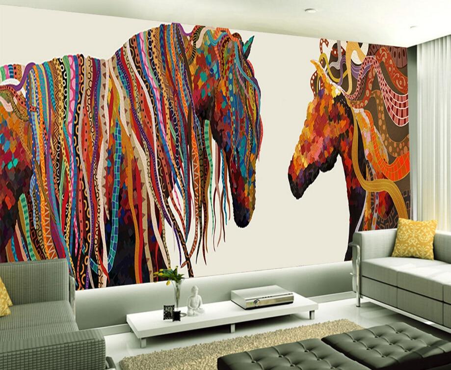 Papier peint personnalisé europe, cheval abstrait, 3D rétro pour le salon TV restaurants chambre toile de fond papier peint étanche