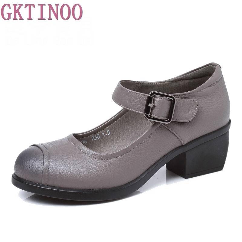 2019 봄 가을 신발 여자 100% 정품 가죽 여성 펌프 레이디 가죽 라운드 발가락 플랫폼 얕은 입 신발 크기 35 40-에서여성용 펌프부터 신발 의  그룹 1