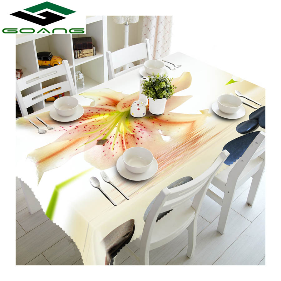 GOANG table cloth 3d digital printing sunflower pattern waterproof tablecloth rectangular and round wedding table covers in Tablecloths from Home Garden