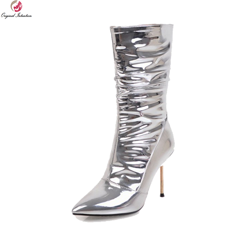 Original Intention Super Sexy Women Mid-Calf Boots Pointed Toe Thin High Heels Boots Nice Silver Shoes Woman Plus US Size 3-10.5 double buckle cross straps mid calf boots