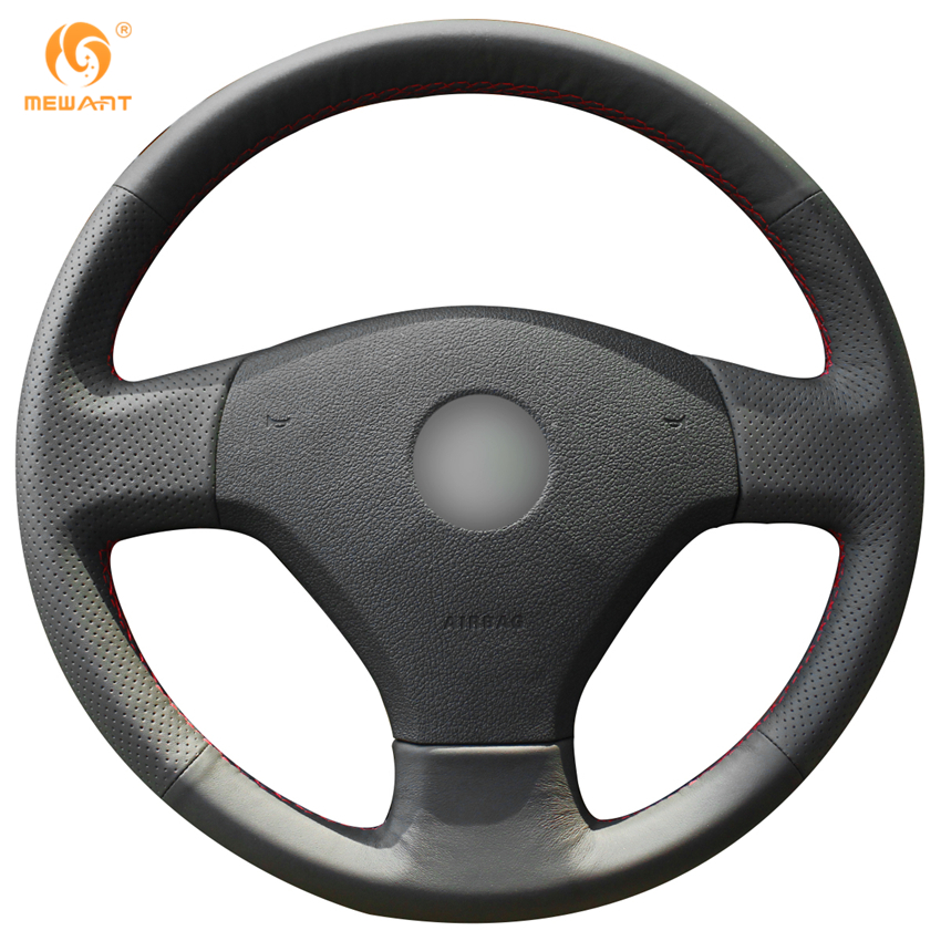 MEWANT Black Genuine Leather Car Steering Wheel Cover for Volkswagen VW Jetta 5 2006-2010 Old Jetta special hand stitched black leather steering wheel cover for vw golf 7 polo 2014 2015