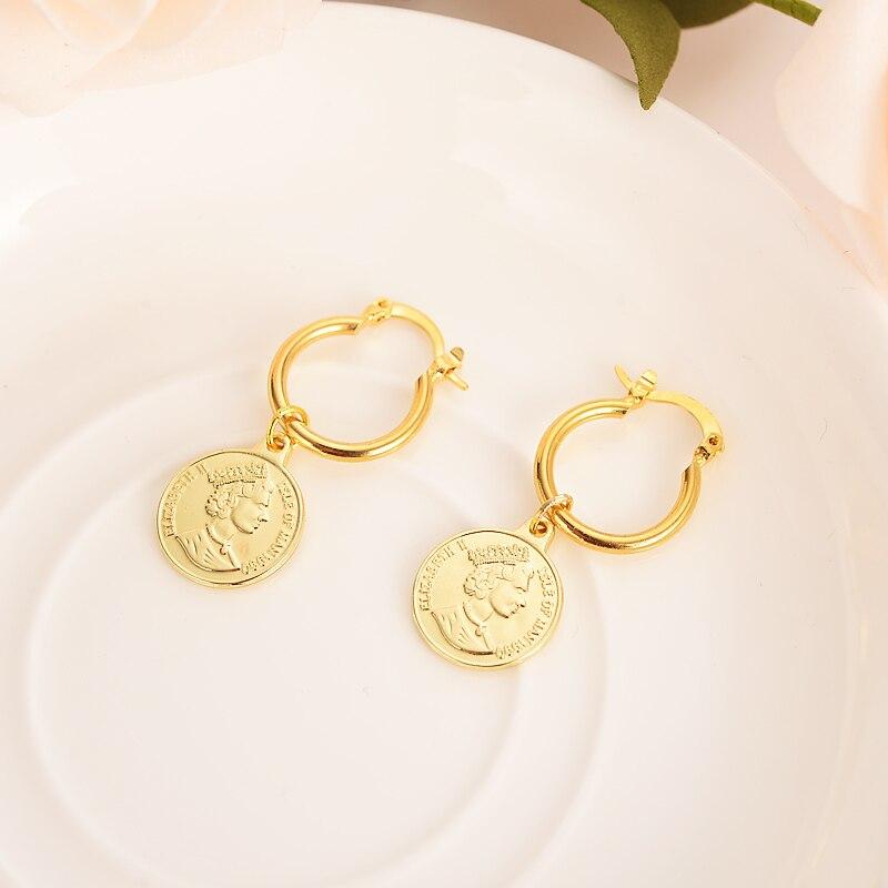 gold jewe gold earrings women Nigerian wedding British Solomon Islands Ten Cents Coin Sea Spirit Ngoreru Elizabeth gift girl gold earrings for women